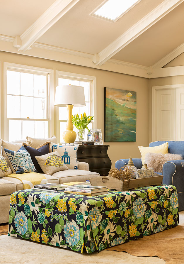 Living room furniture with colorful green and yellow ottoman