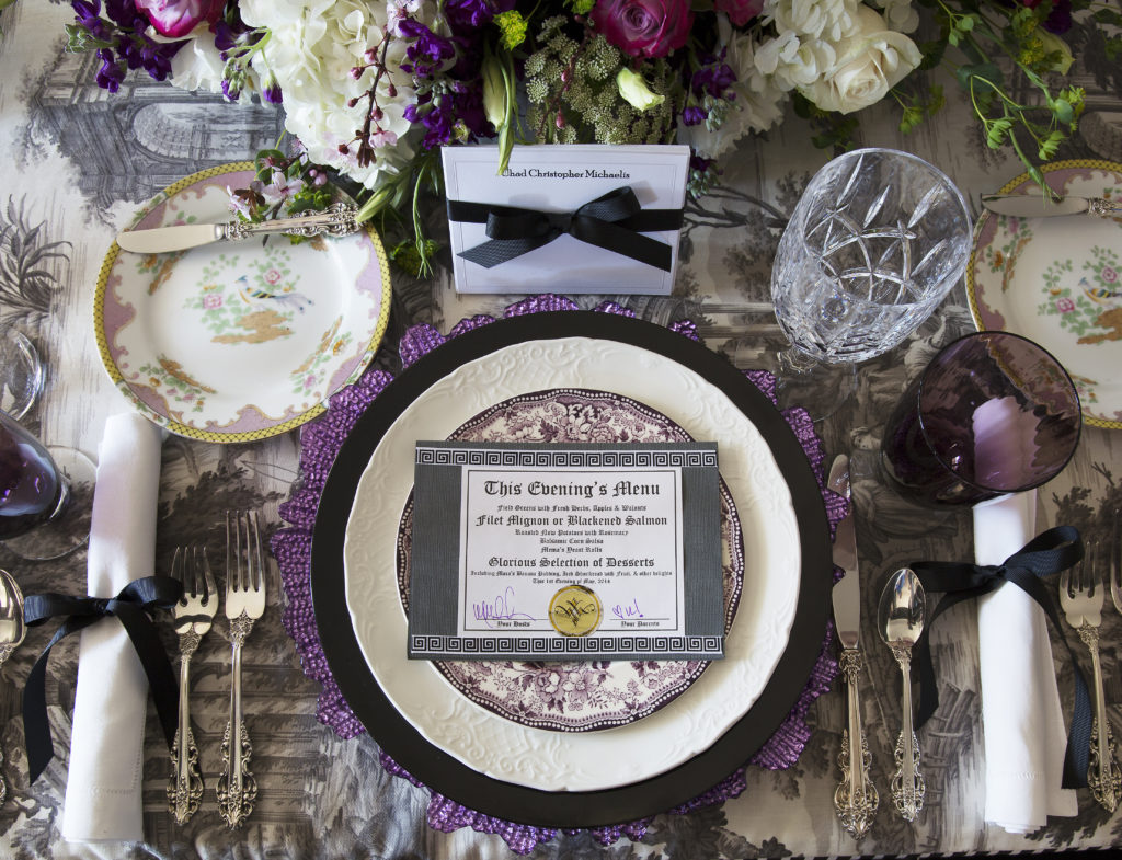 Place setting with cutlery and note
